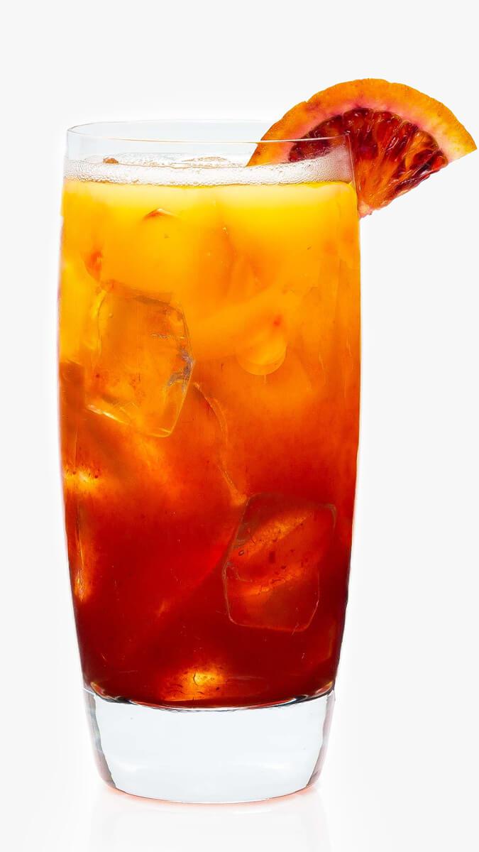 Blood orange punch with EFFEN Blood Orange Vodka, DeKuyper Triple Sec, pineapple and orange juice.