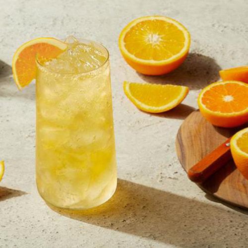 Blood orange cocktail with EFFEN Blood Orange Vodka and a dash of DeKuyper Triple Sec.