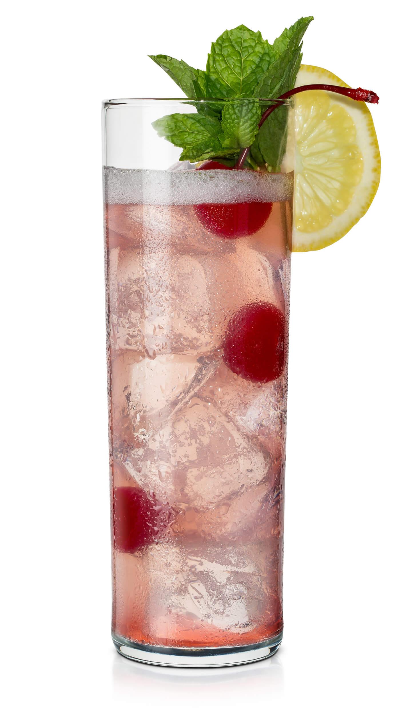 Cherry vodka sour with EFFEN Black Cherry Vodka: lemon sour, creanberry juice and sparkling water.
