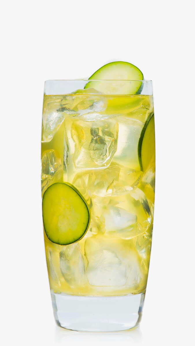 Cucumber cooler with EFFEN Cucumber Vodka: fresh lime juice, pineapple-basil simple syrup and soda.