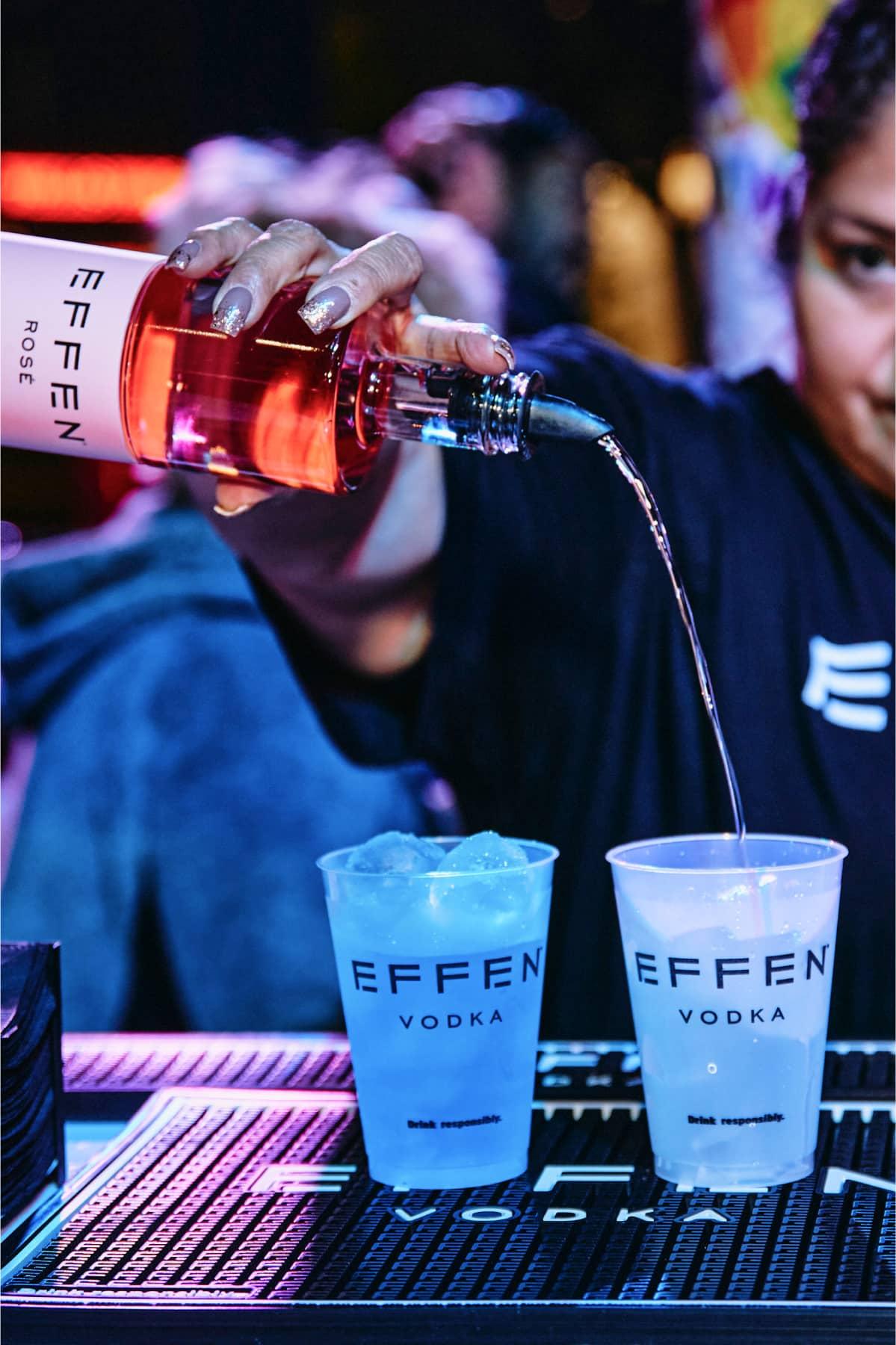 EFFEN bartenders making cocktails with EFFEN Rosé Vodka.